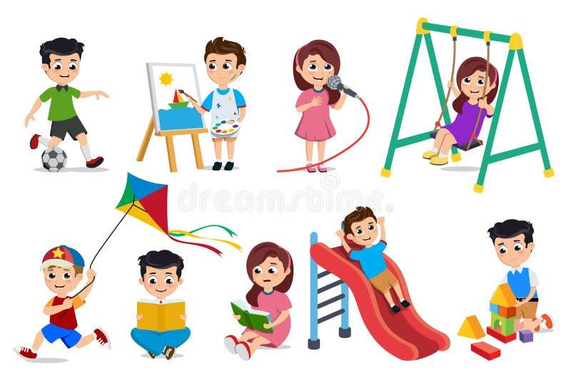 Παιδιά που παίζουν το διανυσματικό σύνολο χαρακτήρων Νέο να κάνει αγοριών και κοριτσιών εκπαιδευτικό και σχολικές δραστηριότητες διανυσματική απεικόνιση