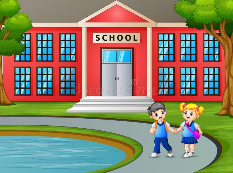 Παιδιά που περπατούν και που εγκαταλείπουν το σχολείο μετά από τις κατηγορίες διανυσματική απεικόνιση