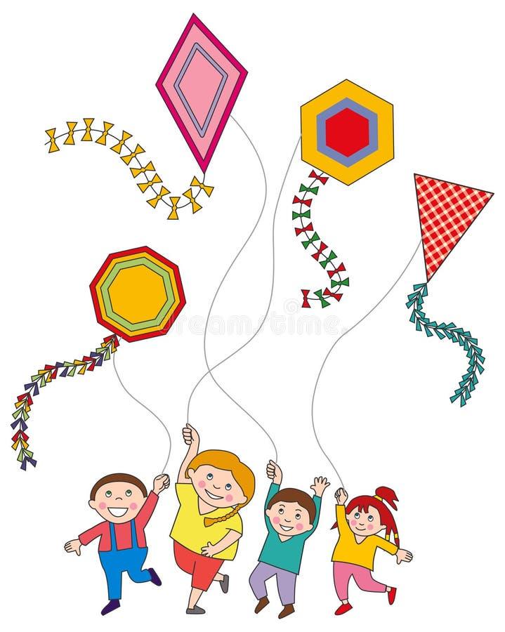 παιδιά που πετούν τους ι&kap απεικόνιση αποθεμάτων