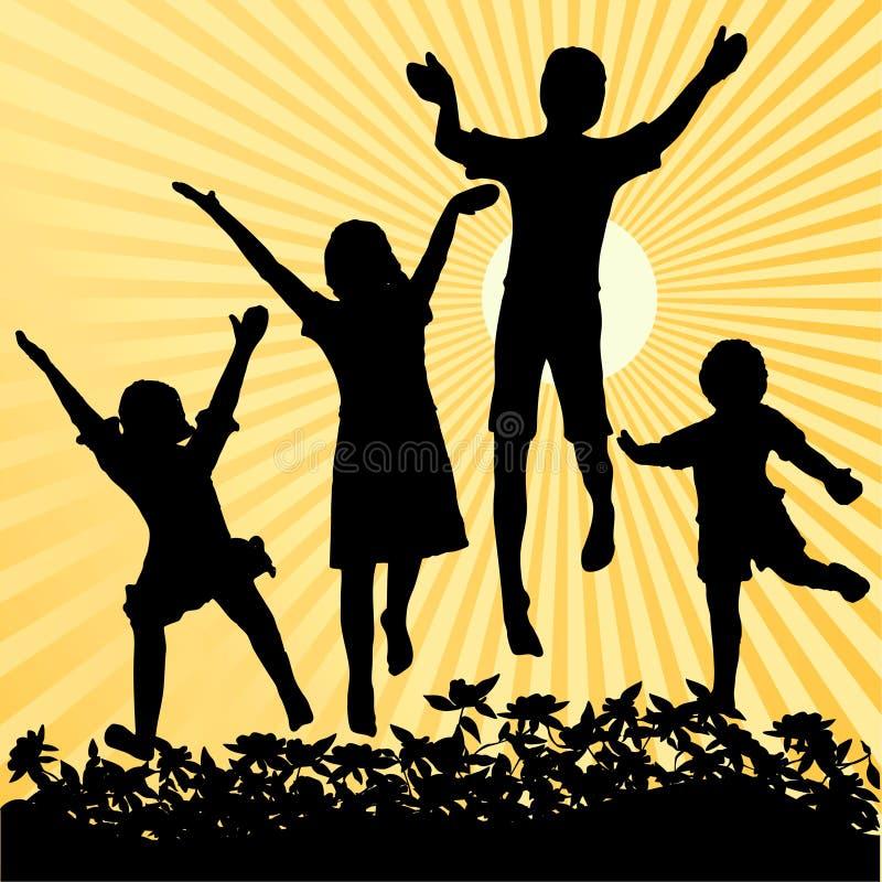 παιδιά που πηδούν τον ήλιο ελεύθερη απεικόνιση δικαιώματος