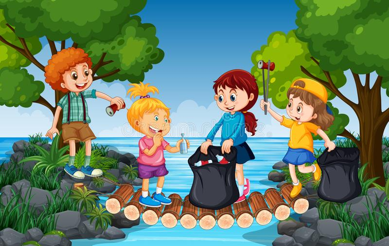 Παιδιά που συλλέγουν τα απορρίμματα δίπλα στον ποταμό διανυσματική απεικόνιση