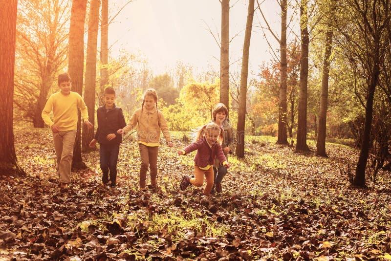 Παιδιά που τρέχουν μαζί τη γούρνα το πάρκο στοκ φωτογραφίες