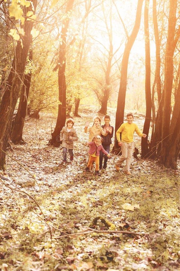 Παιδιά που τρέχουν μαζί τη γούρνα το πάρκο στοκ εικόνες