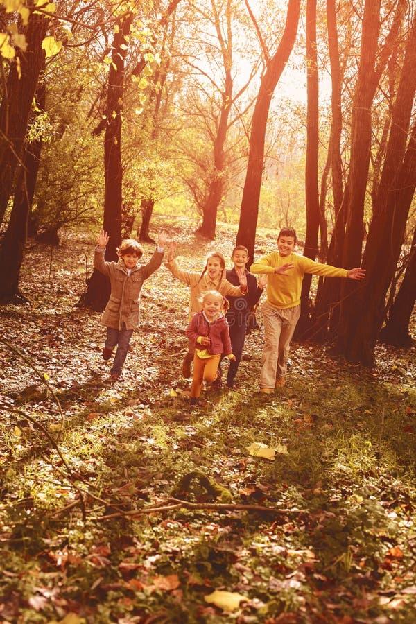 Παιδιά που τρέχουν μαζί τη γούρνα το πάρκο στοκ φωτογραφία