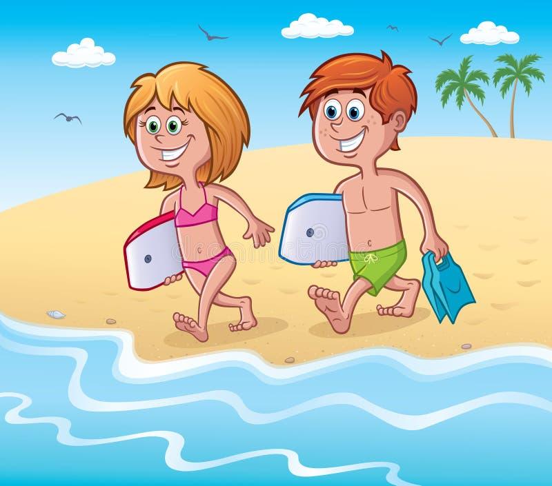 Παιδιά που χαμογελούν με Bodyboards στην παραλία διανυσματική απεικόνιση