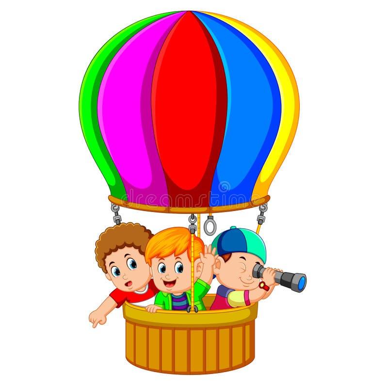 Παιδιά σε ένα μπαλόνι διανυσματική απεικόνιση