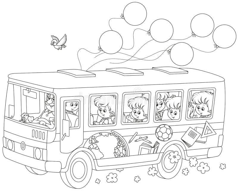 Παιδιά σε ένα σχολικό λεωφορείο απεικόνιση αποθεμάτων