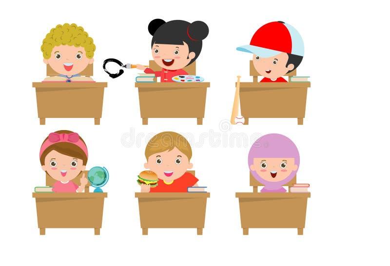 Παιδιά στην τάξη, παιδί στην τάξη, παιδιά που μελετούν στην τάξη, μικρά παιδιά σχολείου, που κάθεται στα γραφεία, πίσω στο σχολεί διανυσματική απεικόνιση