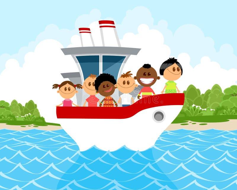 Παιδιά στη βάρκα διανυσματική απεικόνιση
