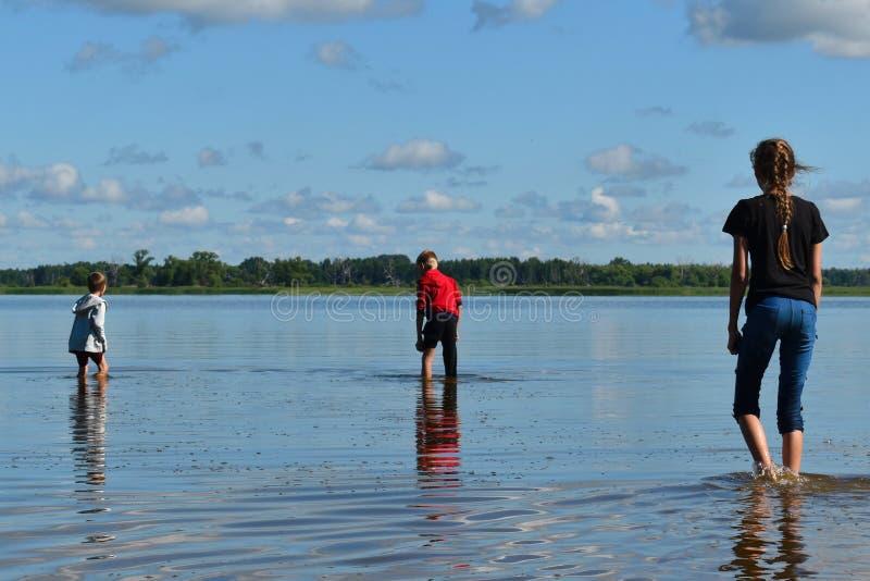 Παιδιά στις δαπάνες ενδυμάτων γόνατο-βαθιά στο μεγάλο ποταμό στοκ εικόνα