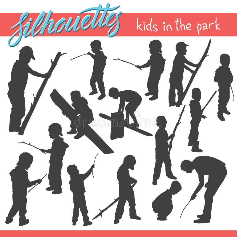 Παιδιά στις διανυσματικές σκιαγραφίες πάρκων διανυσματική απεικόνιση