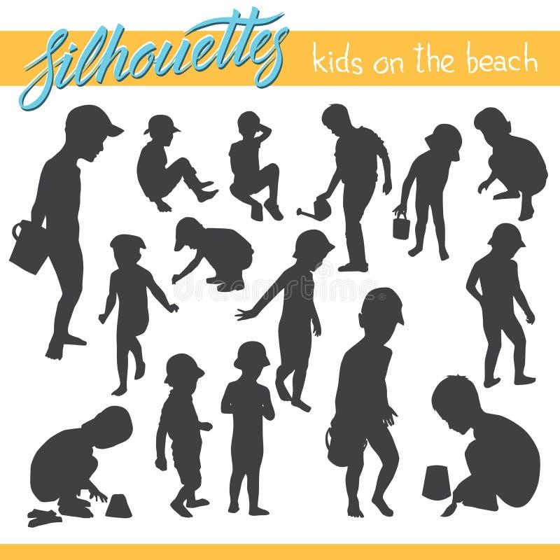 Παιδιά στις διανυσματικές σκιαγραφίες παραλιών διανυσματική απεικόνιση