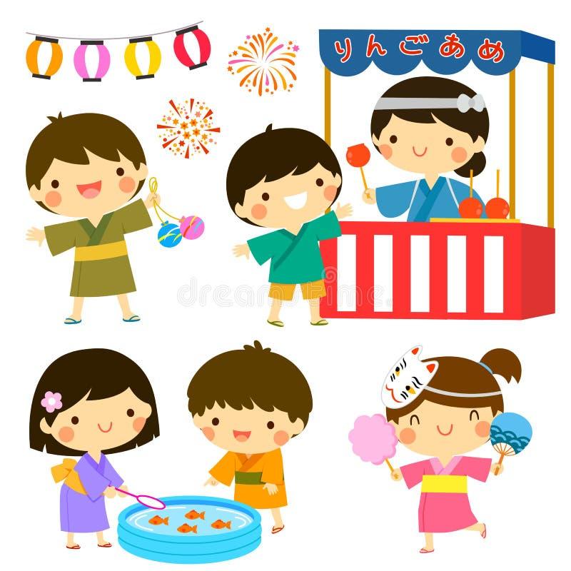 Παιδιά στο θερινό φεστιβάλ στην Ιαπωνία ελεύθερη απεικόνιση δικαιώματος