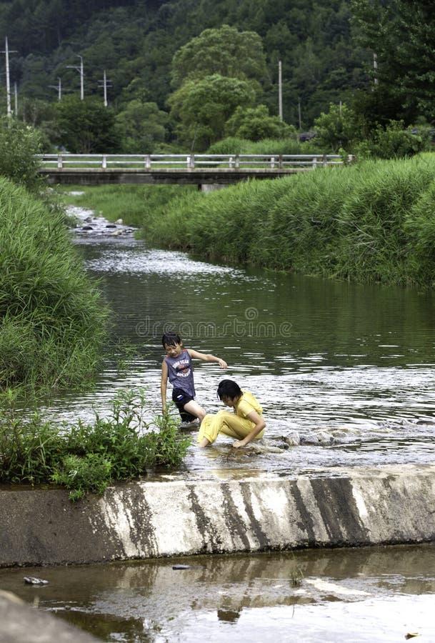 Παιδιά στο ρεύμα στοκ φωτογραφία με δικαίωμα ελεύθερης χρήσης