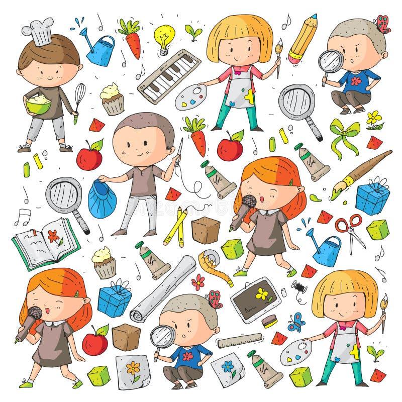 Παιδιά Σχολείο και παιδικός σταθμός Δημιουργικότητα και εκπαίδευση μουσική εξερεύνηση επιστήμη φαντασία Παιχνίδι και μελέτη ελεύθερη απεικόνιση δικαιώματος