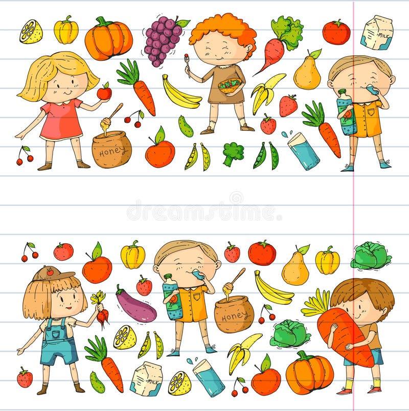 Παιδιά Σχολείο και παιδικός σταθμός Υγιή τρόφιμα και ποτά Καφές παιδιών λαχανικά καρπών Τα αγόρια και τα κορίτσια τρώνε υγιή διανυσματική απεικόνιση