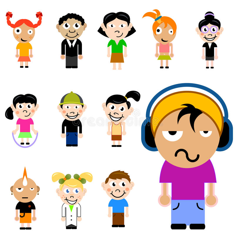 παιδιά χαρακτήρα κινουμέν&ome απεικόνιση αποθεμάτων