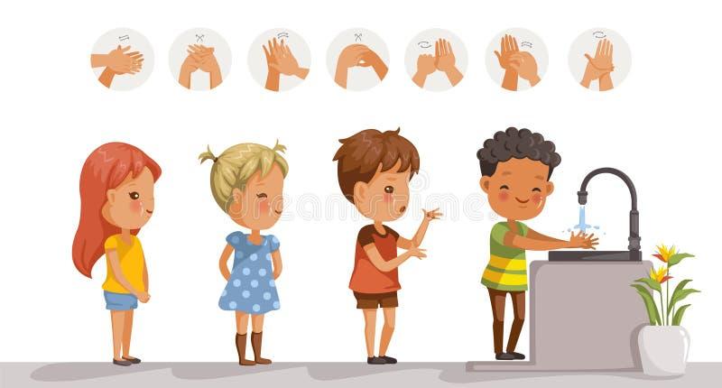 Παιδιά χεριών πλυσίματος διανυσματική απεικόνιση