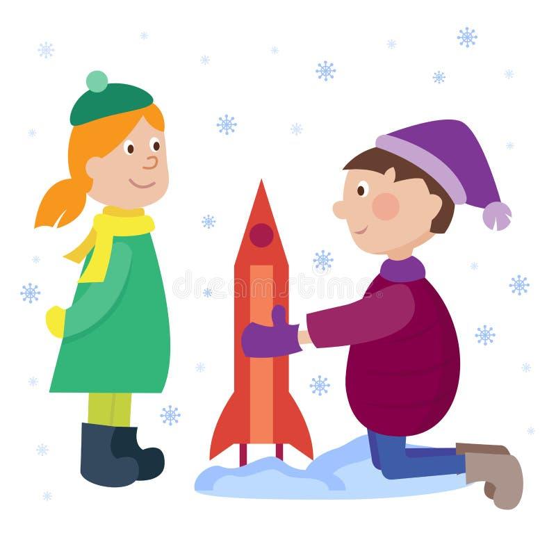 Παιδιά Χριστουγέννων που παίζουν τη νέα διανυσματική απεικόνιση υποβάθρου χειμερινών διακοπών έτους κινούμενων σχεδίων χειμερινών απεικόνιση αποθεμάτων