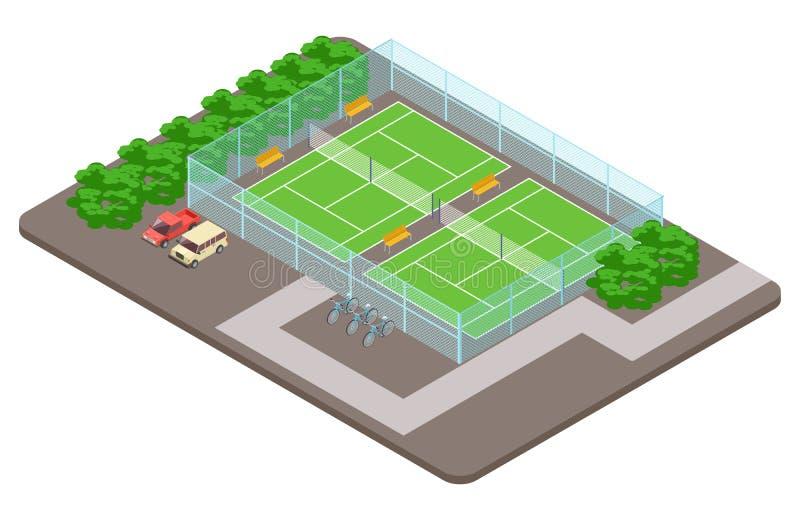 Παιδικές χαρές λεσχών αντισφαίρισης με τη isometric διανυσματική έννοια στάθμευσης ελεύθερη απεικόνιση δικαιώματος