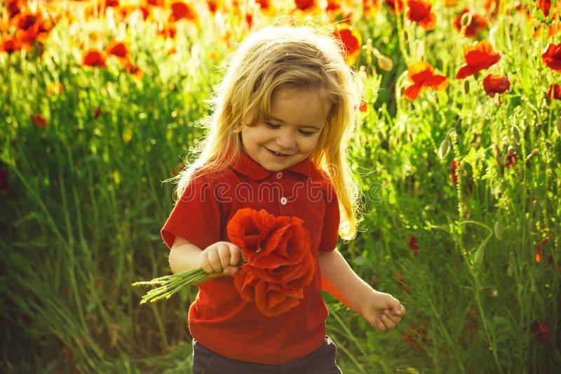παιδική ηλικία και ευτυχία μικρό παιδί ή παιδί στον τομέα του σπόρου παπαρουνών στοκ εικόνα με δικαίωμα ελεύθερης χρήσης