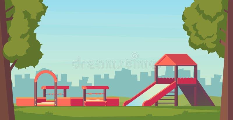 Παιδική χαρά ή πάρκο παιδιών Τα παιδιά παίζουν σύνθετο με τη φωτογραφική διαφάνεια και το Sandbox Διανυσματική επίπεδη απεικόνιση απεικόνιση αποθεμάτων