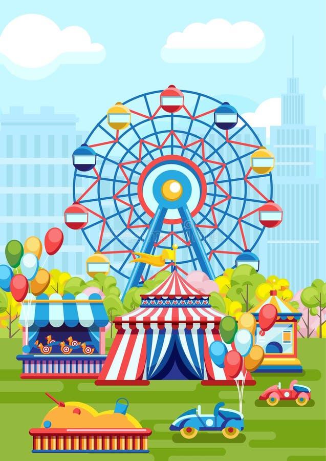 Παιδική χαρά διασκέδασης στο πάρκο πόλεων απεικόνιση αποθεμάτων