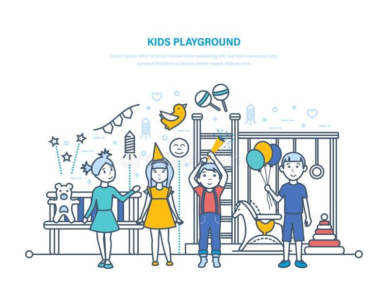 παιδική χαρά κατσικιών Τα μικρά παιδιά, φίλοι, έχουν τη διασκέδαση, παίζουν στην παιδική χαρά διανυσματική απεικόνιση