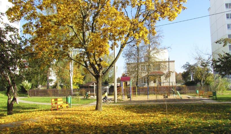 Παιδική χαρά στα κίτρινα φύλλα στοκ φωτογραφία με δικαίωμα ελεύθερης χρήσης