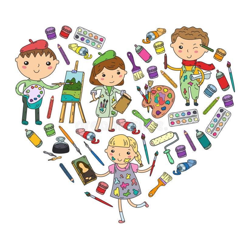 Παιδικός σταθμός δημιουργικότητας παιδιών, αγόρια σχολικής τέχνης και κορίτσια που σύρουν και που χρωματίζουν το σχολείο τέχνης κ ελεύθερη απεικόνιση δικαιώματος