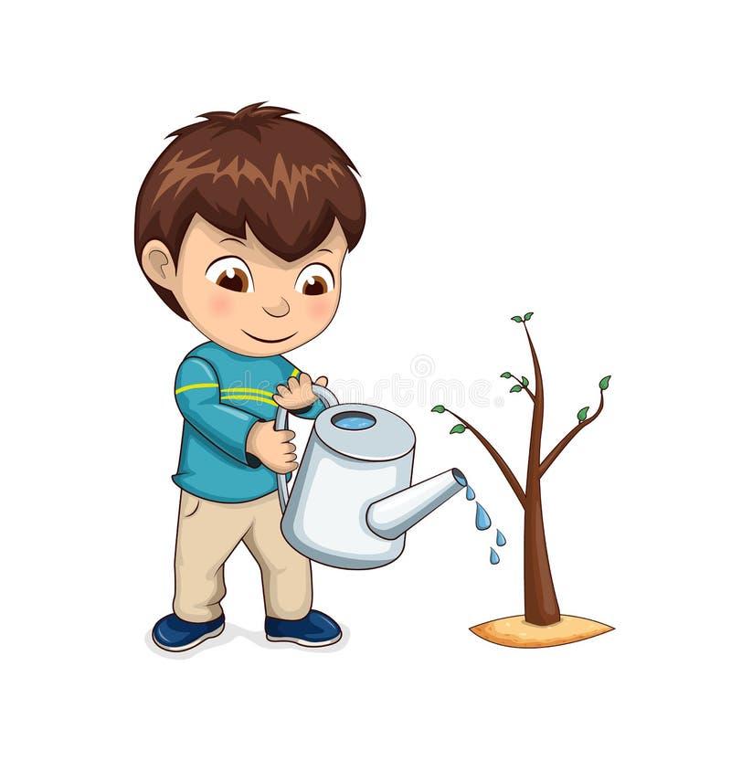Παιδιών διανυσματική απεικόνιση δέντρων ποτίσματος αυξανόμενη ελεύθερη απεικόνιση δικαιώματος
