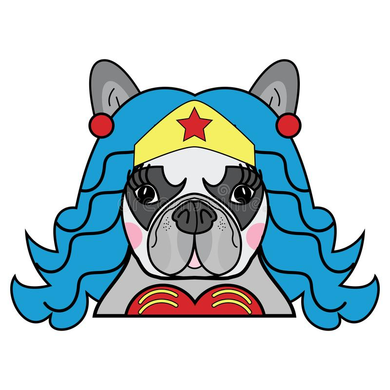 Παιδιών ύφους χαριτωμένο γαλλικό μπουλντόγκ θηλυκό σκυλιών διάνυσμα χαρακτήρα Superhero κωμικό στο χρώμα ελεύθερη απεικόνιση δικαιώματος