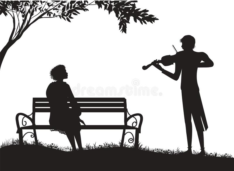 Παιχνίδια βιολιστών για τη συνεδρίαση κοριτσιών του s στον πάγκο του s κάτω από το δέντρο του s, ρομαντική μουσική απεικόνιση αποθεμάτων