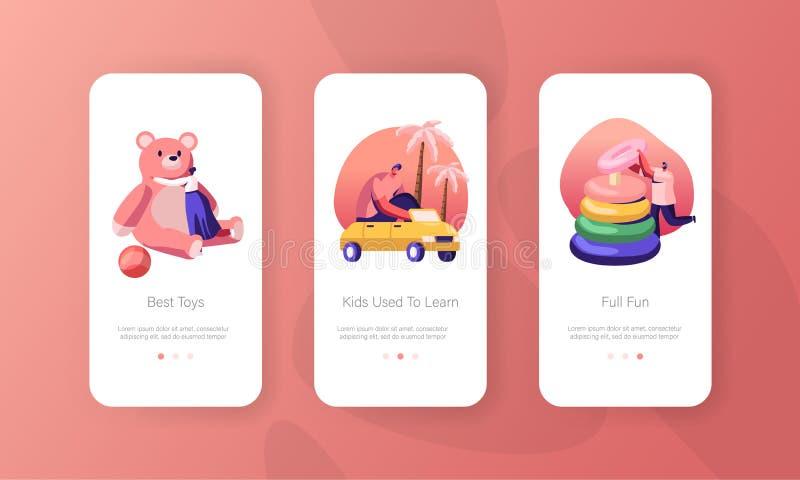 Παιχνίδια για άτομα με παιδικά παιχνίδια στο Kindergarten Mobile App Page πάνω στην οθόνη Παιδική δραστηριότητα διανυσματική απεικόνιση