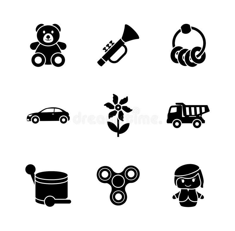 Παιχνίδια για τα εικονίδια Glyph παιδιών διανυσματική απεικόνιση