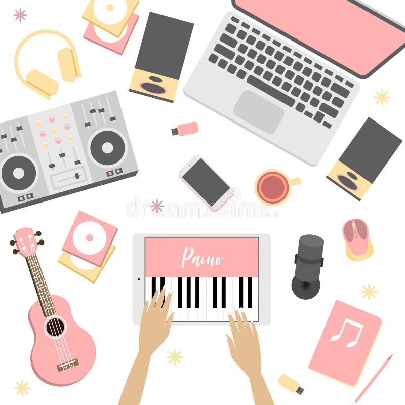 Παιχνίδια κοριτσιών στην εφαρμογή, ποια μίμηση το πιάνο απεικόνιση αποθεμάτων