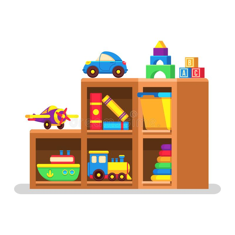 Παιχνίδια παιδιών στο ξύλινο ράφι ελεύθερη απεικόνιση δικαιώματος
