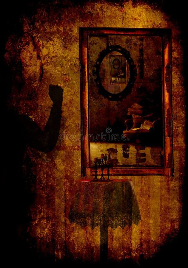 Παιχνίδια των καθρεφτών σε ένα παράξενο παράξενο δωμάτιο φρίκης darkly στοκ εικόνα με δικαίωμα ελεύθερης χρήσης