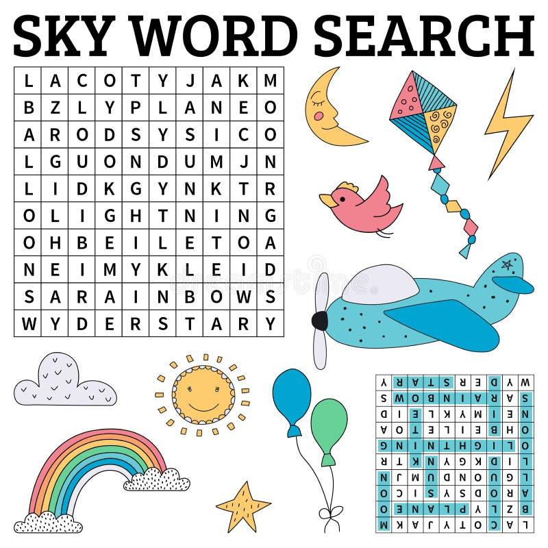 Παιχνίδι αναζήτησης λέξης ουρανού για τα παιδιά απεικόνιση αποθεμάτων