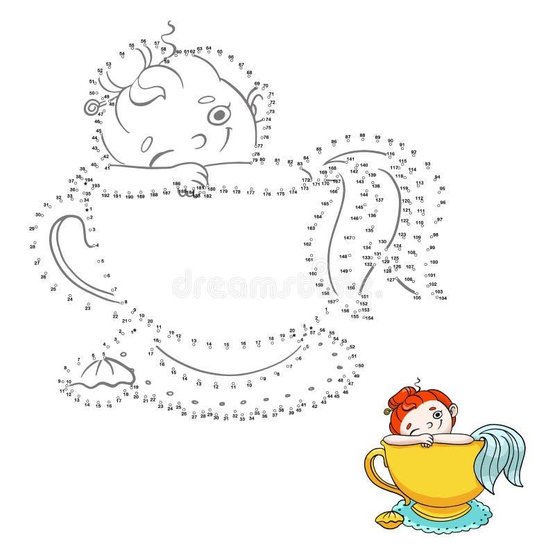 Παιχνίδι αριθμών για τα παιδιά συνδέστε τα σημεία Χαριτωμένη γοργόνα σε ένα φλυτζάνι της απεικόνισης τσαγιού ελεύθερη απεικόνιση δικαιώματος