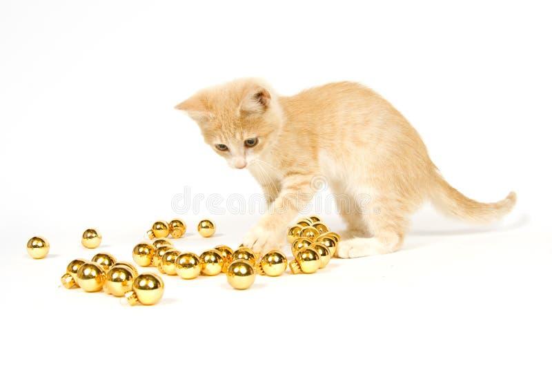 Download παιχνίδι γατακιών διακοσμήσεων Χριστουγέννων κίτρινο Στοκ Εικόνα - εικόνα από γιρλάντα, γούνα: 1545415