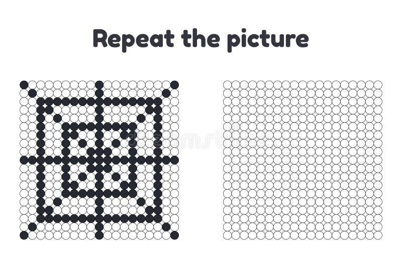 παιχνίδι για τα προσχολικά παιδιά Επαναλάβετε την εικόνα Χρωματίστε τους κύκλους αποκριές Ο Ιστός αραχνών ` s διανυσματική απεικόνιση