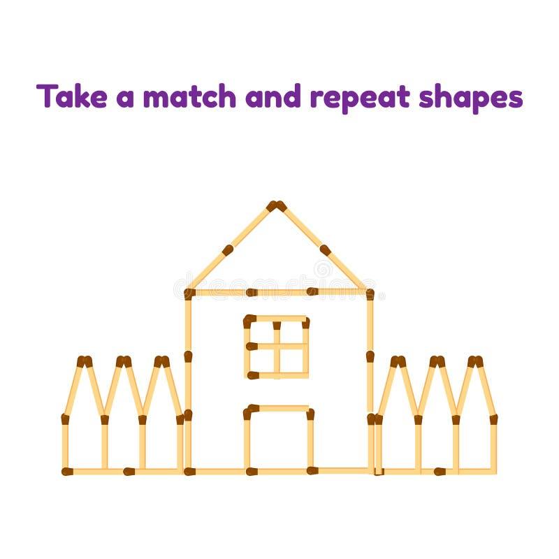 παιχνίδι για τα προσχολικά παιδιά Πάρτε τις αντιστοιχίες και επαναλάβετε την εικόνα σπίτι με το παράθυρο, τη στέγη και το φράκτη διανυσματική απεικόνιση