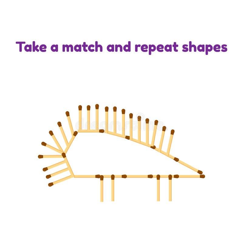παιχνίδι για τα προσχολικά παιδιά Πάρτε τις αντιστοιχίες και επαναλάβετε την εικόνα σκαντζόχοιρος απεικόνιση αποθεμάτων