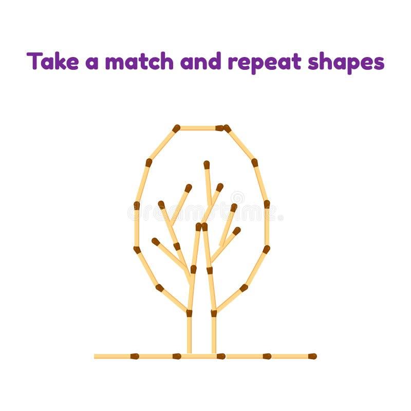 παιχνίδι για τα προσχολικά παιδιά Πάρτε τις αντιστοιχίες και επαναλάβετε την εικόνα Δέντρο διανυσματική απεικόνιση