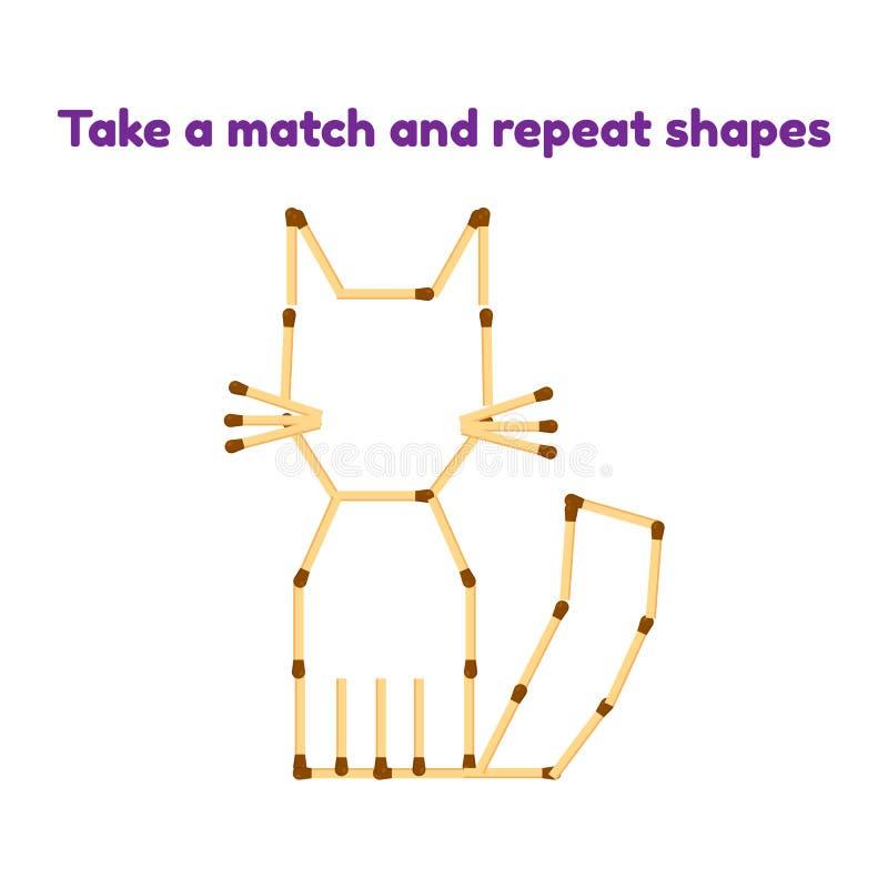παιχνίδι για τα προσχολικά παιδιά Πάρτε τις αντιστοιχίες και επαναλάβετε την εικόνα Γάτα διανυσματική απεικόνιση