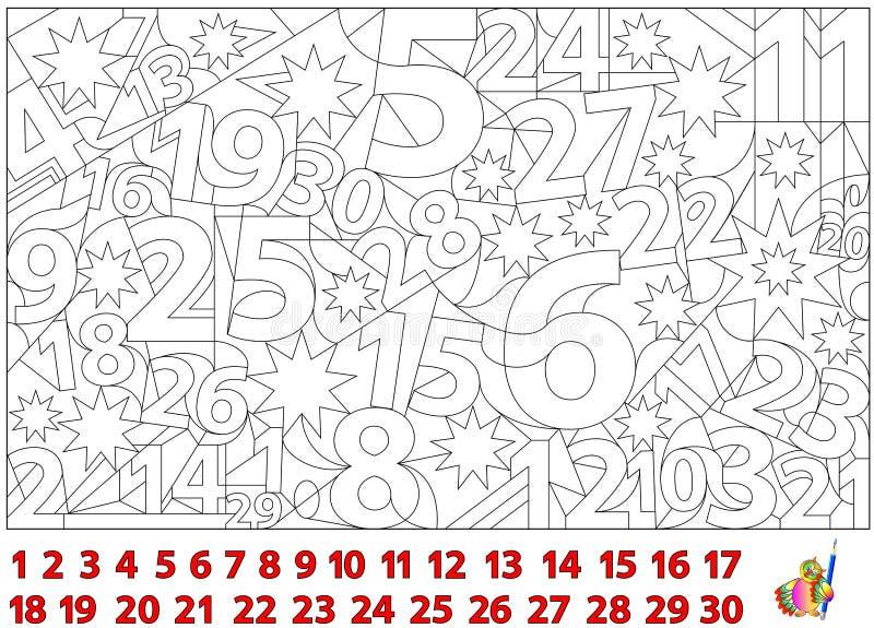 Παιχνίδι γρίφων λογικής Βρείτε τους αριθμούς κρυμμένους στην εικόνα και τους χρωματίστε Σελίδα φύλλων εργασίας για τα παιδιά και  διανυσματική απεικόνιση