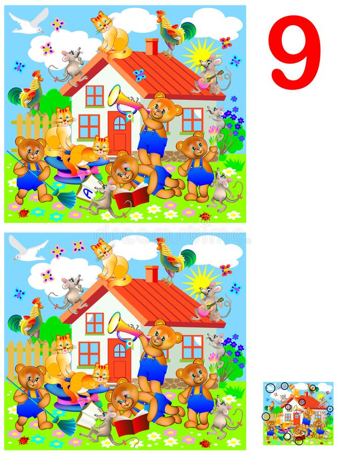 Παιχνίδι γρίφων λογικής για τα παιδιά και τους ενηλίκους Ανάγκη να βρεθούν 9 διαφορές διανυσματική απεικόνιση