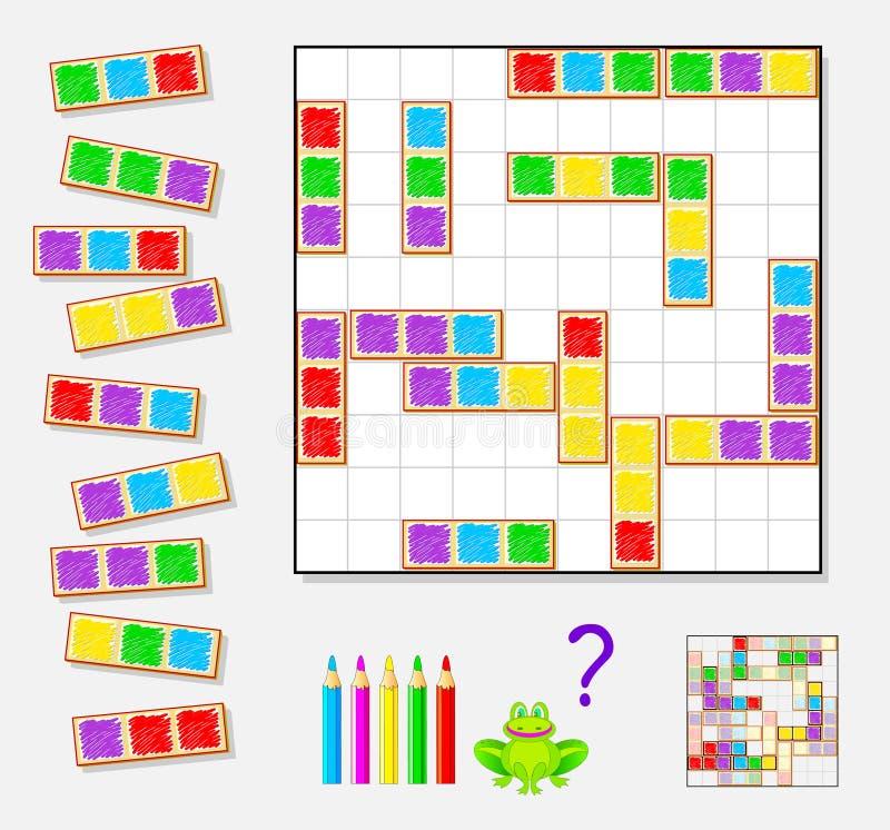 Παιχνίδι γρίφων λογικής για τα παιδιά και τους ενηλίκους Ανάγκη να βρεθούν οι θέσεις για την παραμονή κομμάτια και άσπρα τετράγων διανυσματική απεικόνιση