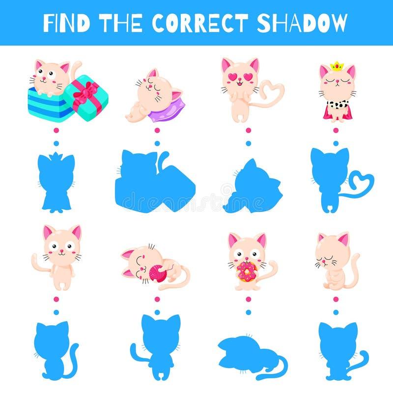 Παιχνίδι διασκέδασης για τα παιδιά Βρείτε τη σωστή σκιά δυσαρεστημένη απεικόνιση κινούμενων σχεδίων αγοριών λίγο διάνυσμα Χαριτωμ διανυσματική απεικόνιση